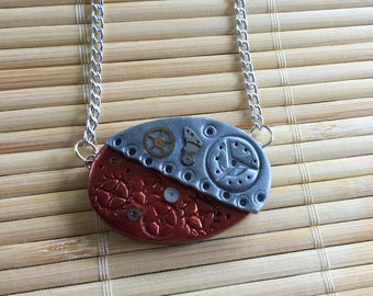 Steampunk Oval Shaped Adjustable Pendant Necklace - Mixed Media Jewelry for Woman