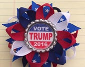 Vote TRUMP 2016 Bottle Cap Hair Bow a CREEPY and CUTE creation red white blue layered boutique bow Hillary President