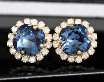 Sapphire Blue Square Swarovski Crystals Framed with White Opal Halo Crystals on Gold Stud Earrings