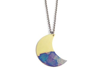 Crescent Moon Violet Watercolor Patina