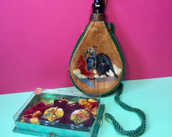Vintage Spanish Castanets And Leather Bota Bag - Vintage Bullfight Scenes - 1960s Souvenirs - España - Leather Wineskin - Flamenco Dancers