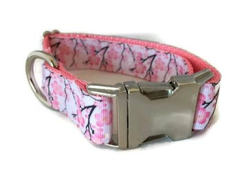 Cherry Blossom, Metal Buckle, 1 inch wide, adjustable, small, 11-14 inches