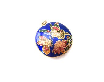 Colorful Vintage Blue and Multicolored Flower & Butterflies Cloisonne Enamel Gold Tone Metal Circular Shaped Reversible Pendant / Destash