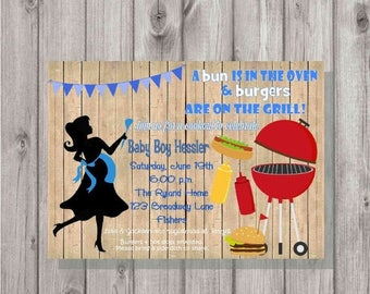 ON SALE Digital Rustic Silhouette Blue Boy BaByQ Cookout Bbq Barbecue Party Baby Shower Invitation Printable