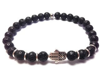 Hamsa hand bracelet - Lava beads - protection - Greek jewelry - For men or women