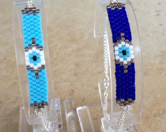 Evil eye bracelet - beaded bracelet - Sterling silver - protection - luck - gift for her - fashion evil eye - evil eye beaded bracelet -