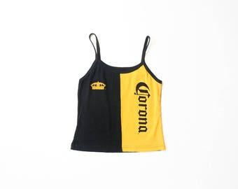 Corona Beer Shirt Rare Tank Top Advertising Tee Iconic 90s Summer Party Beach Drinking Pop Art T-Shirt 1990s Spaghetti Straps Tshirt Medium