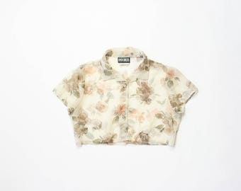 90s Sheer Floral Crop Top 1990s Midriff Cropped Belly Shirt Button Down Blouse Soft Grunge Pastel Goth Beige Flowers Half Shirt Aesthetic