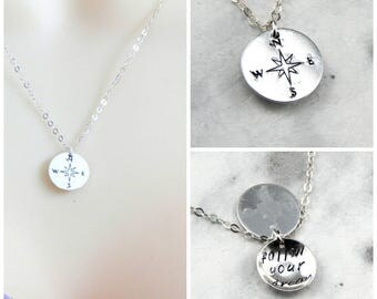 Compass Necklace,Compass Charm necklace,Hidden Message Necklace,Graduation Gift,Friendship Necklace