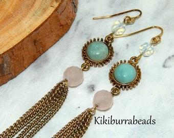 Gold Gemstone Tassel Earrings,Green Jade Earrings,Rose Quartz Earrings,Moonstone Earrings,Long Gold Earrings,Genuine Gemstone Earrings