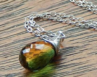 Quartz Necklace, Yellow And Green Quartz Necklace, Bi Color Quartz,Yellow And Green Micro Fsceted Quartz Necklace, Gemstone Necklace