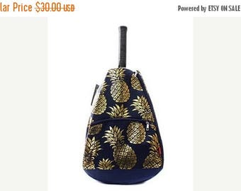 ON SALE Personalized Tennis Racket Cover Bag  Navy with Gold Pineapple Print