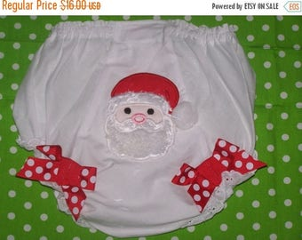 ON SALE Monogrammed Santa Baby Bloomers, Christmas Diaper Cover Personalized