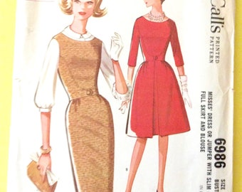 McCall's 6985  1960s dress or jumper with slim or full skirt and blouse.  Vintage Sewing Pattern  Bust 34