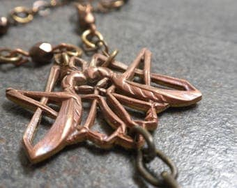 Art Deco Grasshopper Long Layering Y Necklace