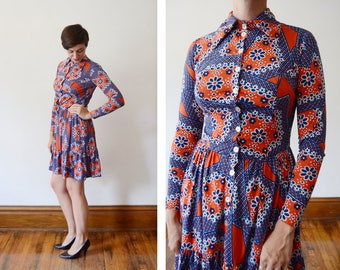 1970s La Chat Floral Mod Dress - S