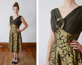 Elissa 1960s Brown and Gold Brocade Party Dress - XS