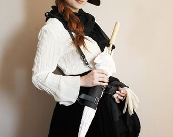 Steampunk Black Parasol Holster Set , Holster , Steampunk Holster , Umbrella Holster , Travel Accessory , Accessories , Leather Holster