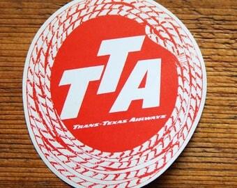 Vintage TTA Trans Texas Airways Travel Decal Gummed Sticker