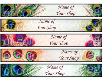 Peacock Feather - 5 Etsy Shop Banners, Bookmarks - 5 JPG images - Digital  Collage Sheet