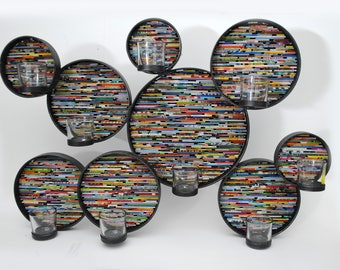 set of 9 brightly colored round wall art- made from recycled magazines, steel circles, candle, statement piece,connected,modern,contemporary
