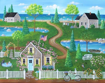 Nantucket Summer ORIGINAL Seascape Beach Cottage Flowers Trees Birds PAINTING by Kim Leo