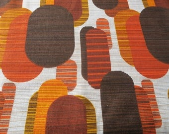 MCM furnishing fabric, 60s decor, abstact material, 50s fabric, 1950s style, brown orange fabric, drapery fabric, upholstery fabric