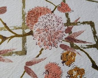 CHRYSANTHEMUM, barkcloth panel, vintage floral barkcloth, craft fabric, MCM fabric,  asian style fabric, vintage barkcloth