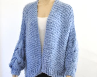 Blue Chunky Knit Cardigan Oversized Cable Jacket Coat Long Soft Hand Knitted