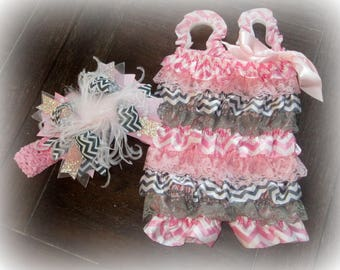 Ruffle Romper, Cake Smash, Pink Petti romper, Lace Romper, Baby Girl Romper, Birthday Outfit, Photo Prop, Pink and Gray Romper, Chevron, 1st