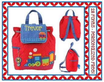 28 Fonts- Toddler Boy's TRAIN Quilted Personalized Backpack- Monogrammed Free Preschool Book Bag 36 Fonts