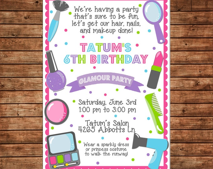Girl Scallop Makeup Make Up Salon Spa Fashion Show Makeover Hair Party Birthday Invitation - DIGITAL FILE
