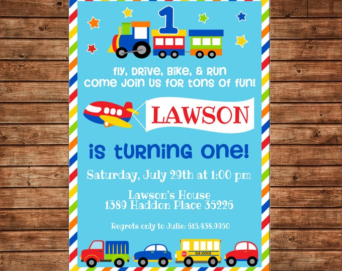 Transportation Car Bus Plane Train Multi Color Stripe Bright Party Birthday Invitation - DIGITAL FILE