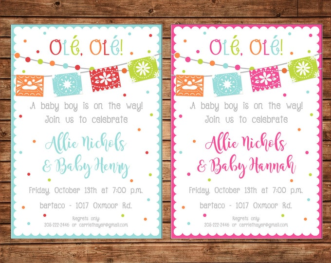 Ole Ole Boy Girl Mexican Fiesta Baby Shower Bunting Pennant Party Birthday Invitation - DIGITAL FILE