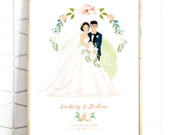 Custom Wedding Portrait - Personalised Couple Drawing - Illustrated Wedding Gift - Bride & Groom - Digital File -Print