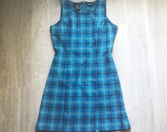 Vintage 90s Blue Plaid Mini Sheath Dress M