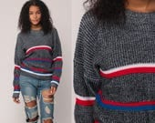 Striped Sweater 80s Acrylic Knit Grunge Oversized Slouch Hipster 1980s Jumper Grey Red White Blue Vintage Pullover Retro Medium