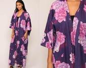 Floral Kimono Robe Jacket Maxi 70s Bohemian Lingerie Japanese Purple Cotton Dressing Gown Long Wrap Vintage Boho Hippie Small Medium Large
