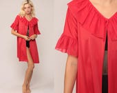 Red Robe Sexy Lingerie Jacket 70s Red Kimono Robe Mini Lingerie RUFFLE Romantic Dressing Gown 1970s Vintage Small Medium