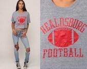 Football Shirt HEALDSBURG Football Crop Top 80s Vintage Sports T Shirt Graphic Tee 1980s Retro TShirt Grey Print Extra Large xl 2xl
