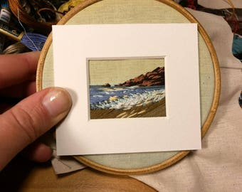 Commission hand embroidered mini landscape. Mixed media with painted sky. Framed personalised miniature.
