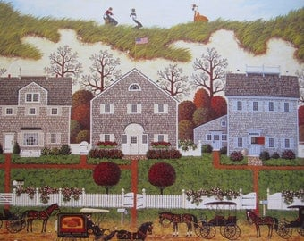 Charles Wysocki, Above the World/Seasons of Happiness, 2-sided 1994 Vintage Bookpage Print, Unframed Colorplate