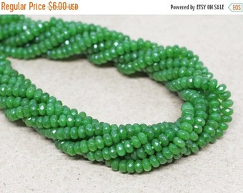 """20% OFF 7.5"""" Gemstone STRAND - Jade Beads - 2x4mm Faceted Rondelles - Parrot Green (7.5"""" strand, ~80 beads) - str1368"""