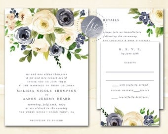 Wedding Invitations, Printable Wedding Invites, DIY Invitation Suite, Watercolor Floral Invitation, Navy, Cream | DIGITAL PRINTABLE