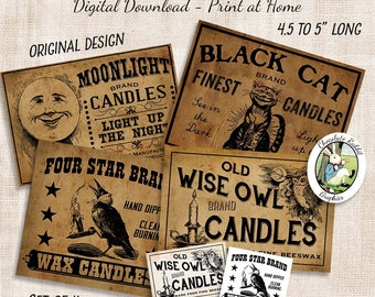 Candle Labels, Primitive Country Decor, Vintage Digital Download, Printable Labels, Candle Jar Tags, Crow Black Cat Owl Image Transfer