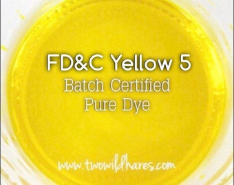 LEMON Batch Certified FD&C Yellow 5 Dye, Cosmetic Powdered Water Soluble Colorant, 1 oz