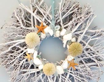 """Beach Decor Twig Seaglass Wreath - Nautical Decor Starfish, Shell  Beach Glass Wreath - 18"""" WHITE"""
