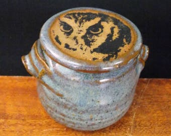 Small Stoneware French Butter Crock With Clay Knife ~ Intense Owl Design ~ holds half a stick~