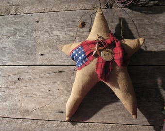 Large Primitive Americana Star Pillow, Primitive Patriotic Decor, Door Hanger, Hanging Star