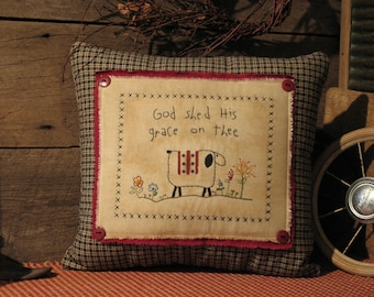 Primitive Americana Pillow, God Shed His Grace on Thee, Primitive Stitchery Pillow, Sheep, American Flag, Hand-Stitched, Embroidery